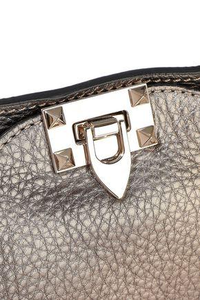 VALENTINO GARAVANI Rockstud metallic pebbled-leather tote
