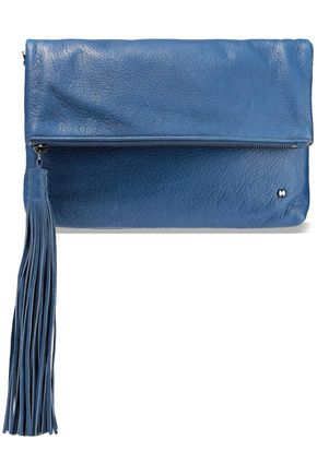 HALSTON HERITAGE Christie tasseled textured-leather clutch