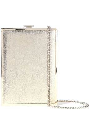 HALSTON HERITAGE Frame Minaudiere metallic cracked-leather box clutch
