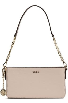 DKNY Chain-trimmed textured-leather shoulder bag
