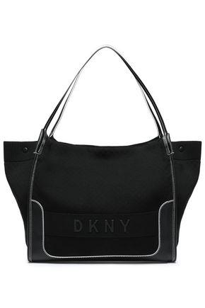 DKNY フェイクレザートリム ストレッチニット トートバッグ