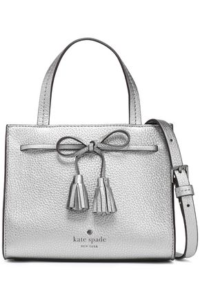 KATE SPADE New York Bow-embellished metallic pebbled-leather shoulder bag