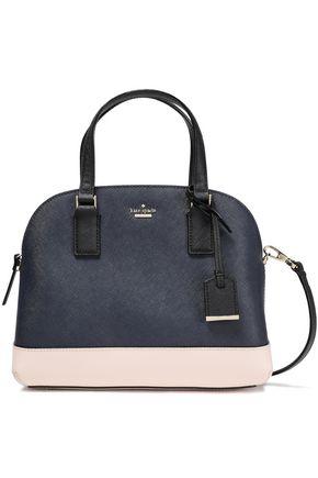 KATE SPADE New York Patent leather-paneled color-block textured-leather shoulder bag