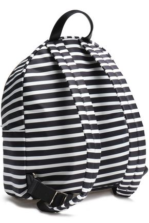 KATE SPADE New York Leather-trimmed striped shell backpack