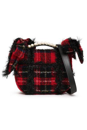 SIMONE ROCHA Embellished checked bouclé-tweed shoulder bag