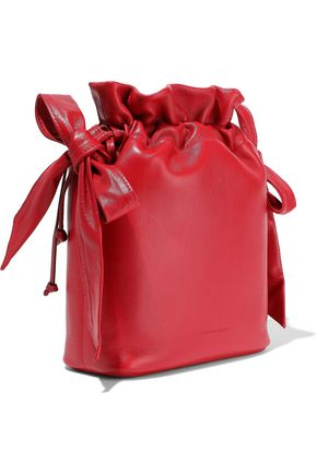 SIMONE ROCHA Bow-detailed glossed-leather bucket bag