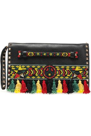 VALENTINO GARAVANI Embellished pebbled-leather clutch