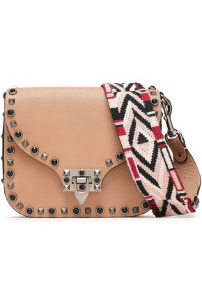 VALENTINO GARAVANI Embellished pebbled-leather shoulder bag