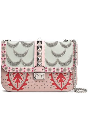 VALENTINO GARAVANI Lock embellished leather shoulder bag