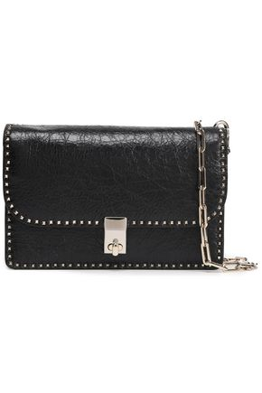 VALENTINO GARAVANI Stud Stitching cracked-leather shoulder bag