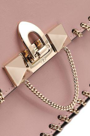 VALENTINO GARAVANI Demilune chain-trimmed leather shoulder bag