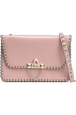 VALENTINO GARAVANI Whipstitched chain-trimmed leather shoulder bag