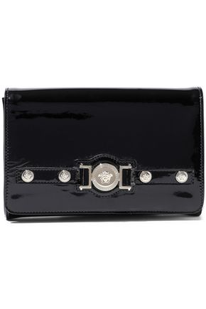 VERSACE Logo-embellished patent-leather clutch