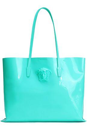 VERSACE Medusa logo-appliquéd patent-leather tote
