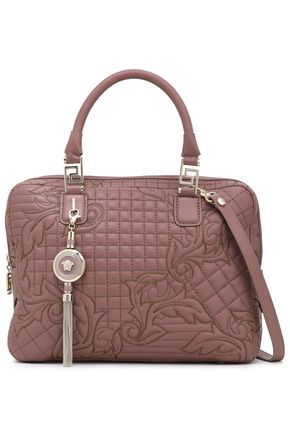 VERSACE Quilted embroidered leather shoulder bag