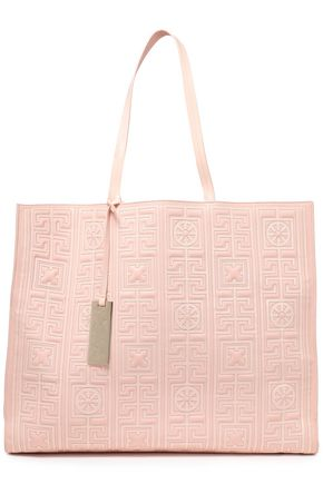VERSACE Quilted patent and smooth-leather tote