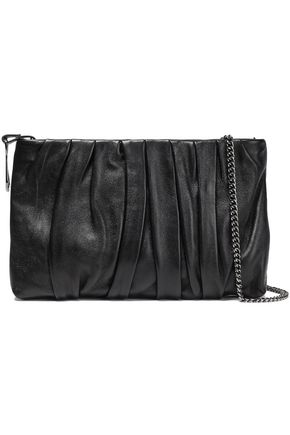 HALSTON HERITAGE Gathered leather clutch
