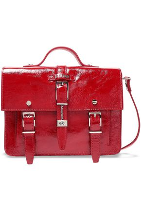 VERSUS VERSACE Buckle-embellished crinkled patent-leather shoulder bag