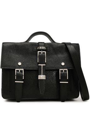 VERSUS VERSACE Buckle-embellished crinkled coated-leather shoulder bag