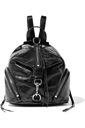 REBECCA MINKOFF Julian convertible cracked glossed-leather backpack