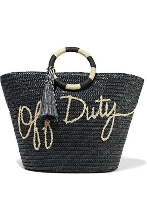 REBECCA MINKOFF Tasseled embroidered woven straw tote