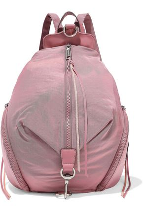 REBECCA MINKOFF حقيبة ظهر مزدوجة الاستعمال من قماش مقاوم للماء مزيّنة بالجلد