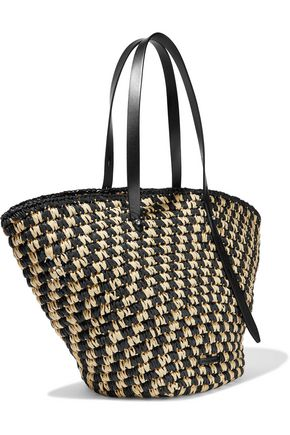 REBECCA MINKOFF Fan leather-trimmed woven straw tote