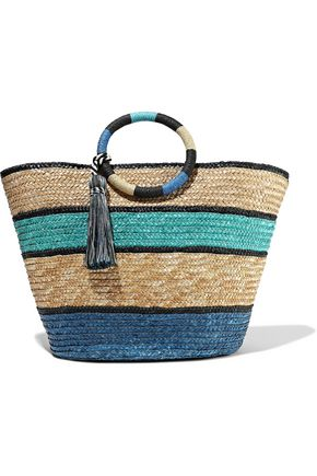 REBECCA MINKOFF Tasseled color-block woven straw tote