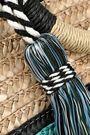 REBECCA MINKOFF Tasseled color-block woven straw tote