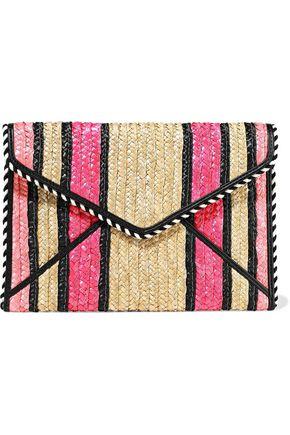 REBECCA MINKOFF Leo striped woven straw envelope clutch