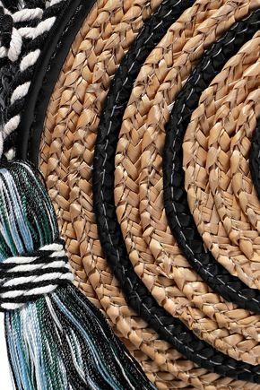 REBECCA MINKOFF Tasseled striped woven straw shoulder bag