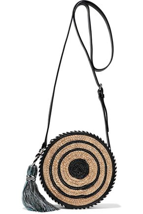 REBECCA MINKOFF Tasseled striped woven straw shoulder bag