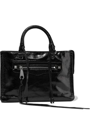 REBECCA MINKOFF Regan crinkled patent-leather tote