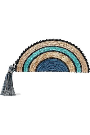 REBECCA MINKOFF Taco tasseled striped woven straw clutch