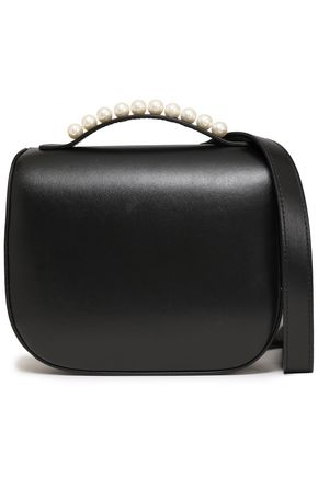 SIMONE ROCHA Faux pearl-embellished leather shoulder bag