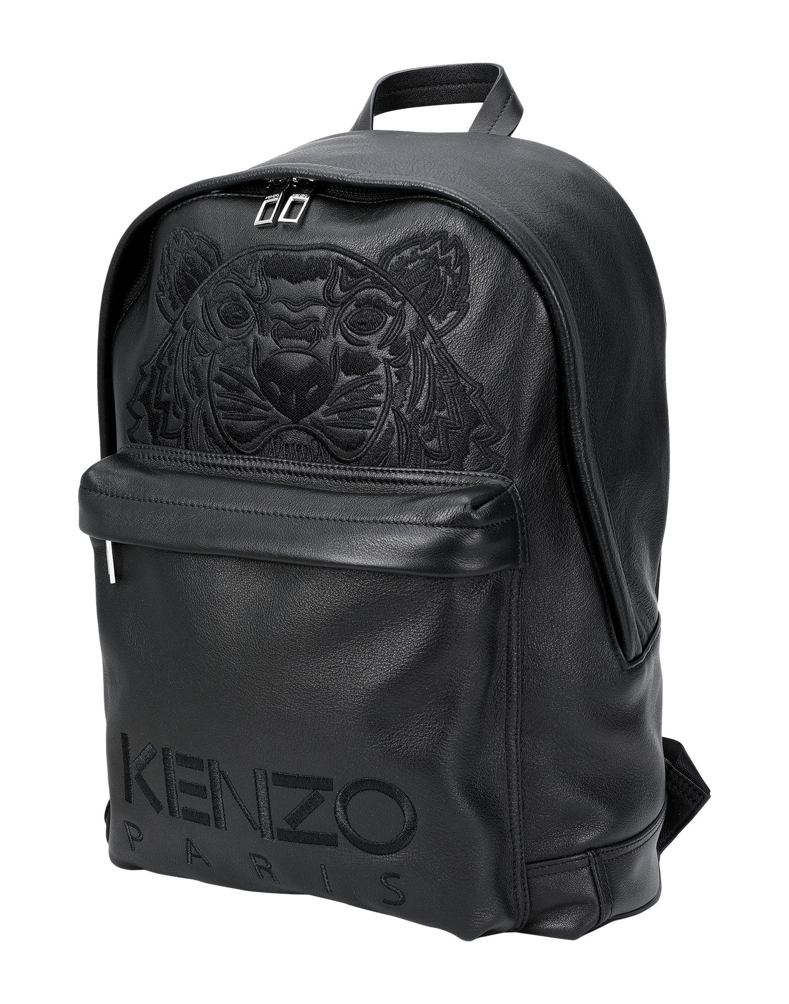 《期間限定 セール開催中》KENZO メンズ バックパック&ヒップバッグ ブラック 柔らかめの牛革 100%