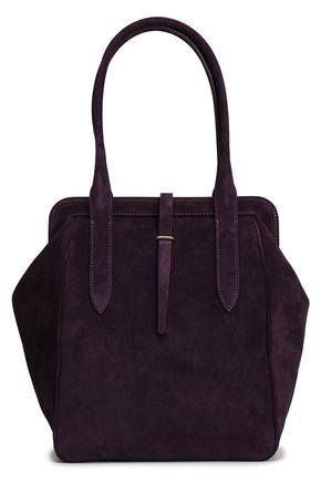 ANN DEMEULEMEESTER Leather-trimmed suede tote