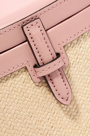 HUNTING SEASON Leather and woven raffia shoulder bag