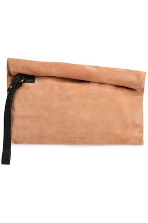 ANN DEMEULEMEESTER Leather-trimmed suede clutch