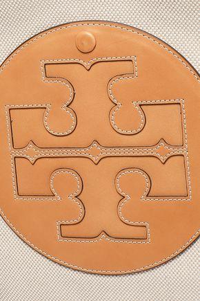 TORY BURCH Leather-appliquéd canvas tote