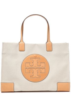 TORY BURCH Leather-appliquéd canvas tote