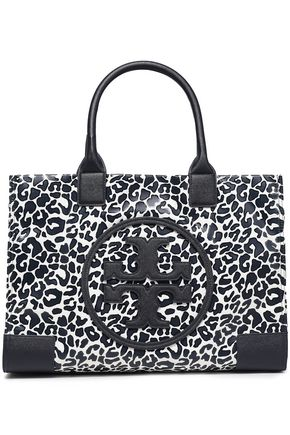 TORY BURCH Faux leather-trimmed leopard-print twill tote