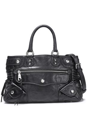 DKNY Lace-up textured-leather shoulder bag
