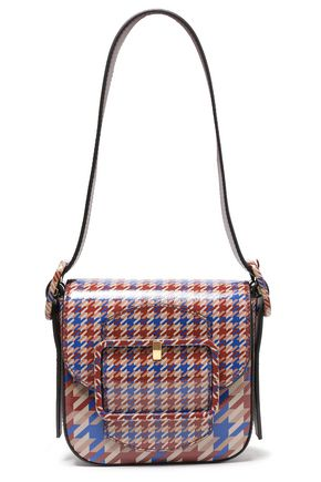 TORY BURCH Houndstooth glossed leather shoulder bag