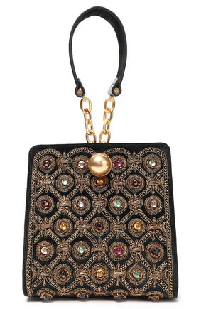 TORY BURCH Leather-paneled embellished suede clutch