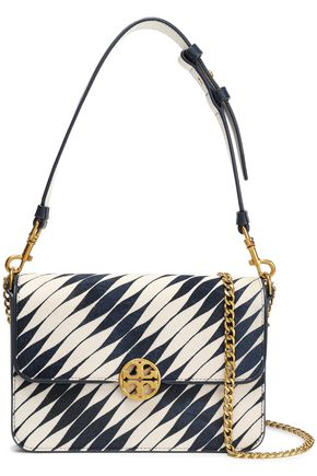 TORY BURCH Logo-embellished calf hair shoulder bag