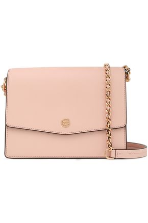 TORY BURCH Logo-embellished textured-leather shoulder bag