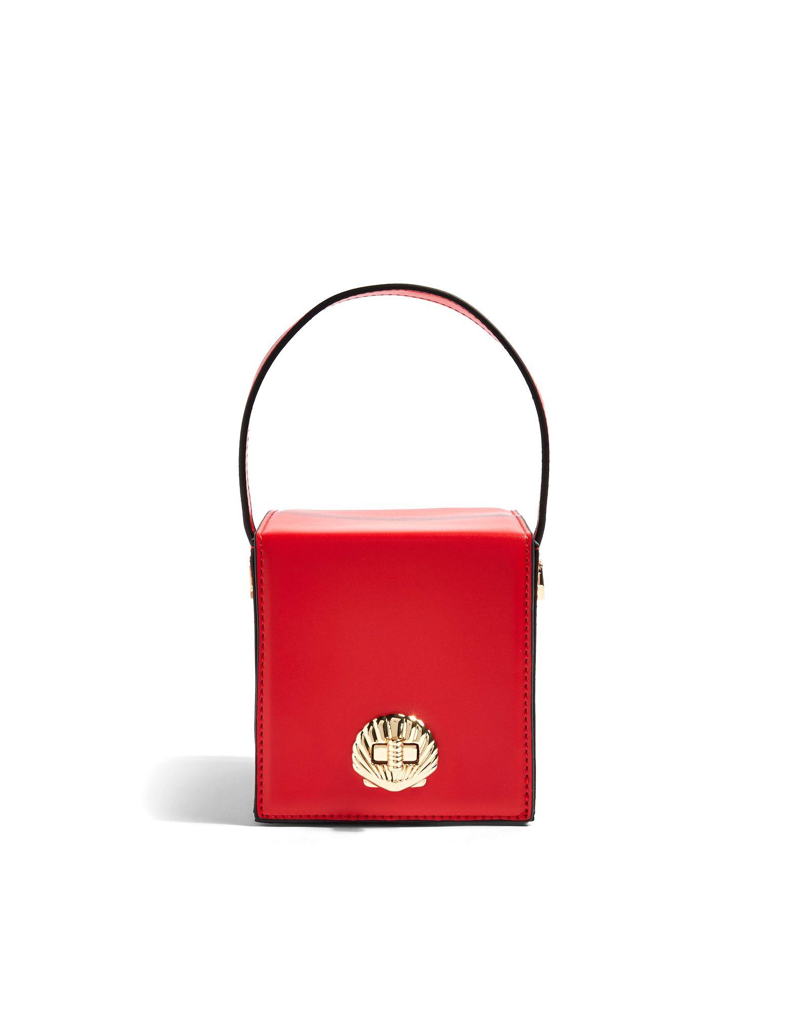 《セール開催中》TOPSHOP レディース メッセンジャーバッグ レッド ポリウレタン 100% SHELLY BOXY CROSS BODY BAG