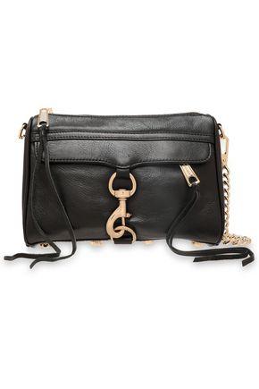 REBECCA MINKOFF Chain-trimmed textured-leather shoulder bag