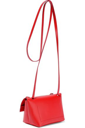 Acne Studios Shoulder ACNE STUDIOS WOMAN MUSUBI MILLI SMALL KNOTTED LEATHER SHOULDER BAG RED
